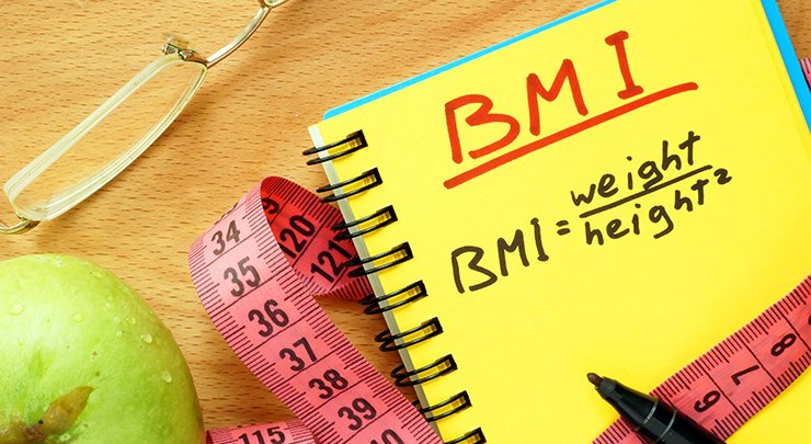 BMI formula to calculate weight is written out for tummy tuck patient.