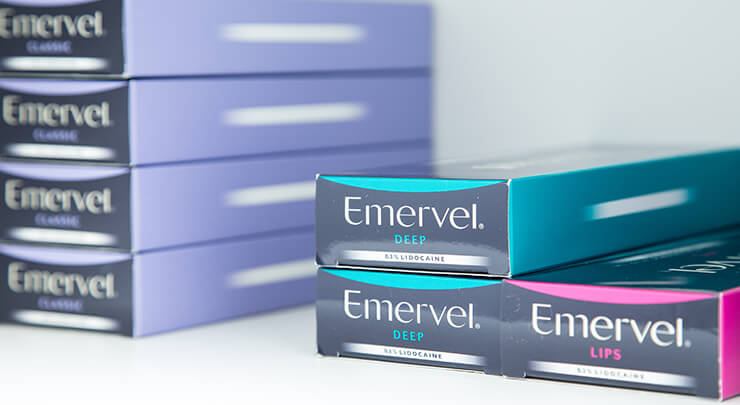 Boxes of Emervel injectable fillers.