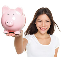 Woman in white tshirt holding a pink piggy bank in her hand.