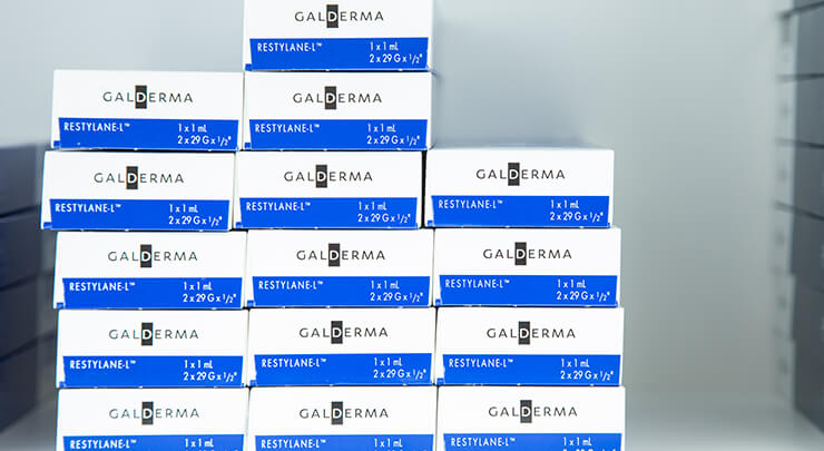Boxes of Restylane injectable fillers.