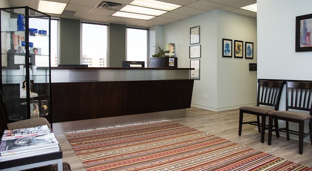 Toronto plastic surgery office reception area.